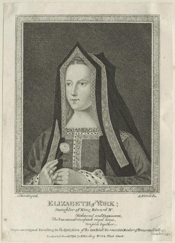 Elizabeth of York, by Andrew Birrell, published by  Edward Harding, after  Silvester Harding, published 1790 - NPG D23864 - © National Portrait Gallery, London