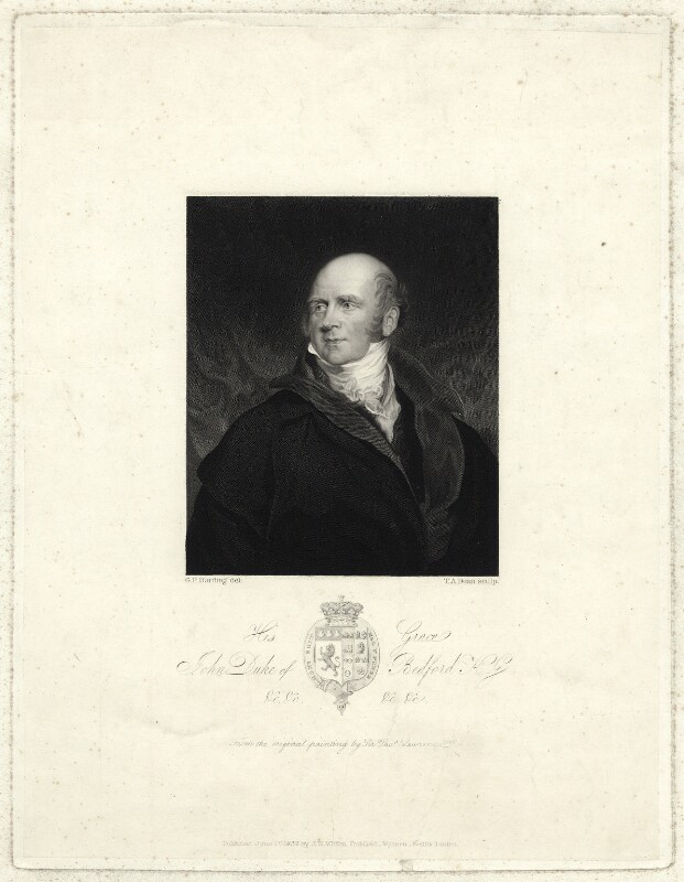 John Russell, 6th Duke of Bedford, by Thomas Anthony Dean, after  George Perfect Harding, after  Sir Thomas Lawrence, published 1832 - NPG D31621 - © National Portrait Gallery, London