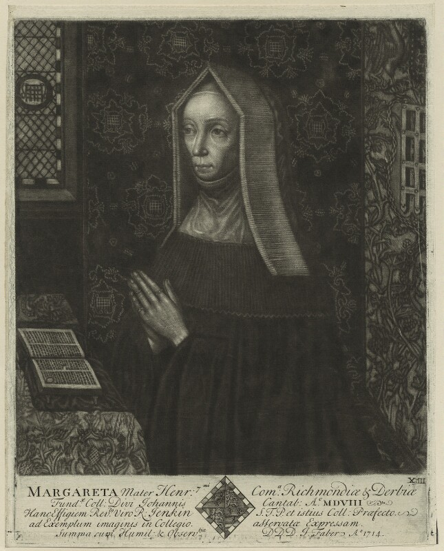 Lady Margaret Beaufort, Countess of Richmond and Derby, by John Faber Sr, after  Unknown artist, 1714 - NPG D23872 - © National Portrait Gallery, London