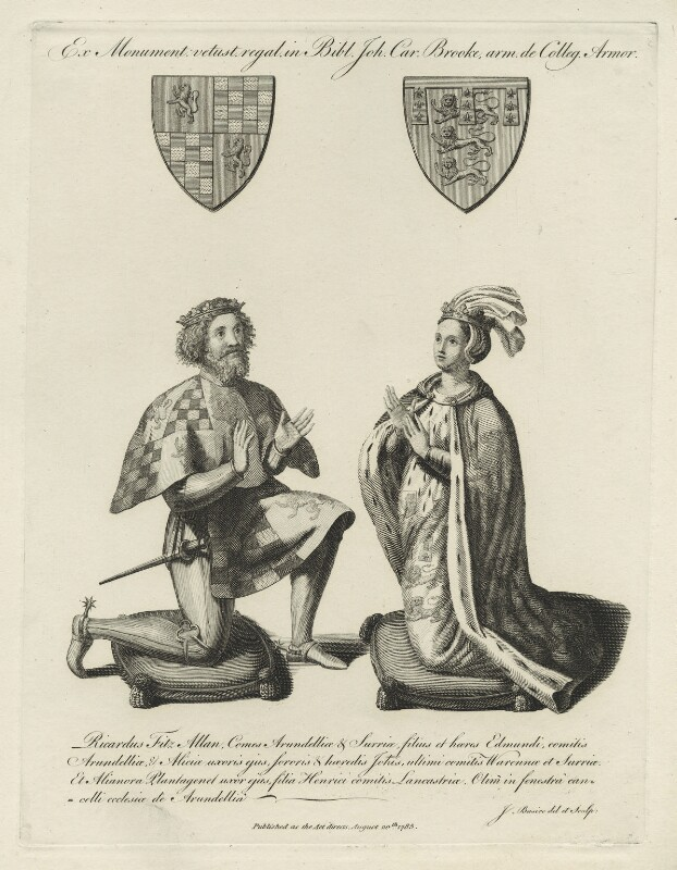 Richard Fitzalan, Earl of Arundel and Eleanor of Lancaster, by James Basire, published 1785 - NPG D23924 - © National Portrait Gallery, London