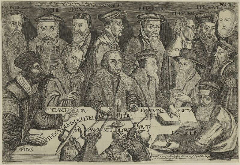 'The Candle is lighted, we can not blow out' (Leading Theologians of the Protestant Reformation), published by John Garrett, after 1673 - NPG D24005 - © National Portrait Gallery, London