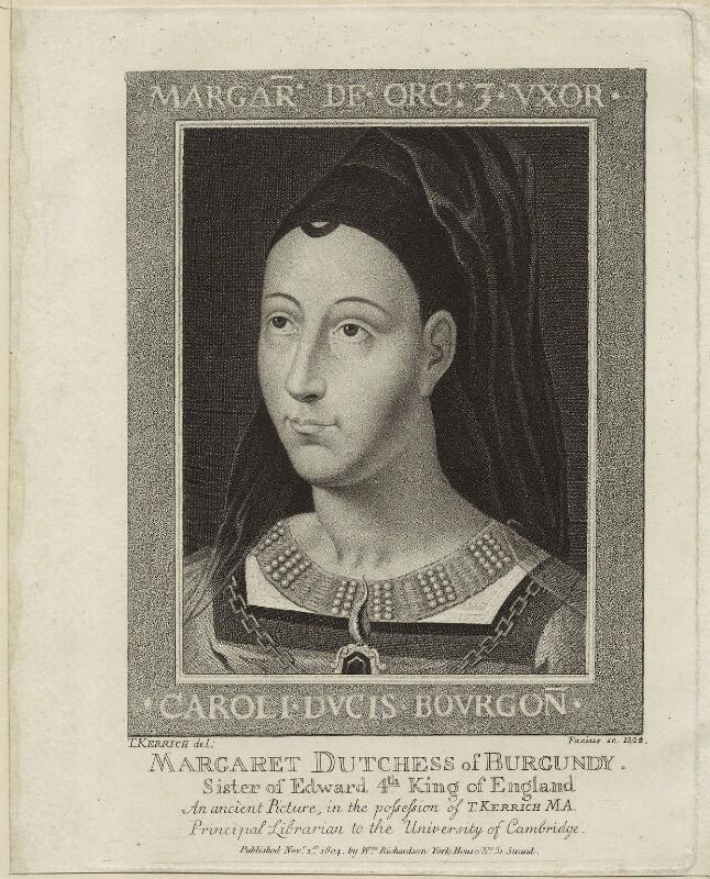 Margaret, Duchess of Burgundy, by Johann Gottlieb Facius, after  Thomas Kerrich, 1804 - NPG D24089 - © National Portrait Gallery, London