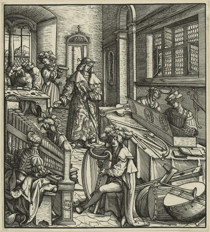 The Emperor Maximilian studying the Science of Music, by Hans Burgkmair, possibly 16th century - NPG D24117 - © National Portrait Gallery, London