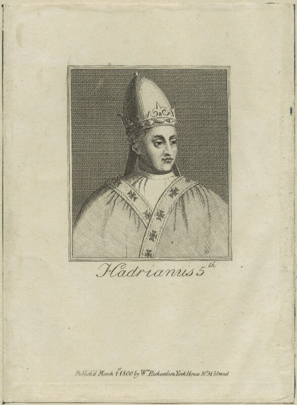 Pope Adrian V, after Unknown artist, published 1800 - NPG D24127 - © National Portrait Gallery, London