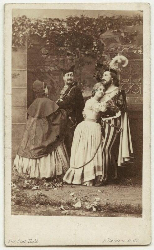 Unknown actress; Jean Baptiste Faure; Adelina Patti; Giovanni Matteo Mario, by Leonida Caldesi, 1864 - NPG x20490 - © National Portrait Gallery, London