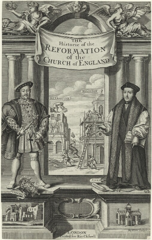 King Henry VIII and Thomas Cranmer, by Robert White, late 17th century - NPG D24146 - © National Portrait Gallery, London