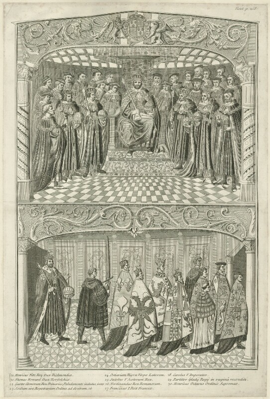 Two scenes depicting the State Opening of Parliament in the Reign of Henry VIII (fictional), by Joseph Sympson (Simpson), probably 18th century - NPG D24168 - © National Portrait Gallery, London