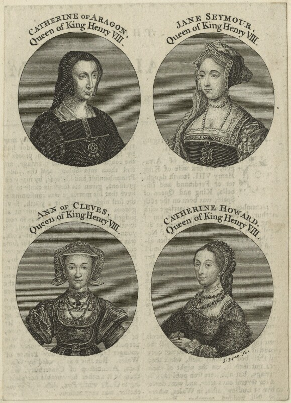 Louise of Savoy engraved as as Katherine of Aragon; Jane Seymour; Anne of Cleves; unknown woman engraved as Catherine Howard, by John June, mid 18th century - NPG D24172 - © National Portrait Gallery, London