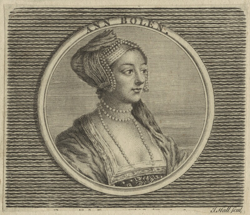 Unknown woman formerly known as Anne Boleyn, by John Hall, after  Hans Holbein the Younger, probably 18th century - NPG D24177 - © National Portrait Gallery, London