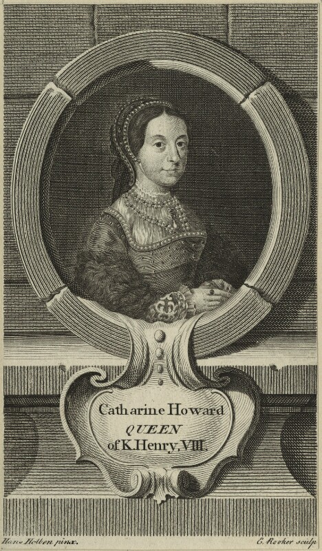 Catherine Howard, by Edward Rooker, after  Hans Holbein the Younger, possibly 1748 - NPG D24186 - © National Portrait Gallery, London