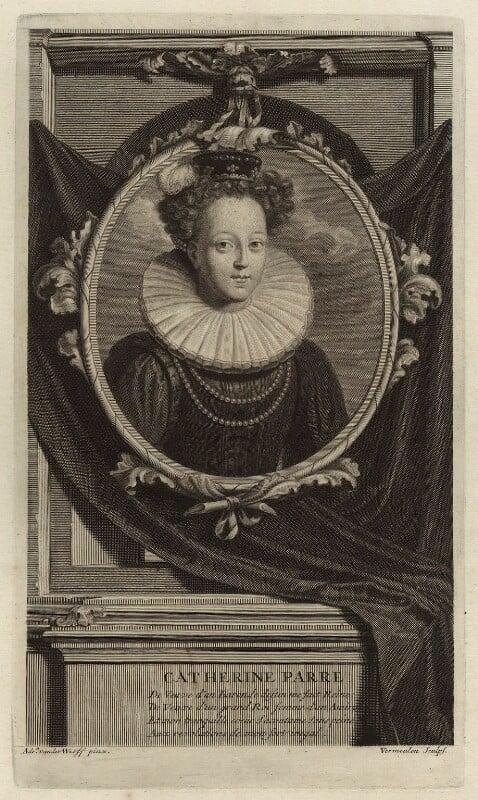 Katherine Parr, by Cornelis Martinus Vermeulen, after  Adriaen van der Werff, late 17th century - NPG D24192 - © National Portrait Gallery, London