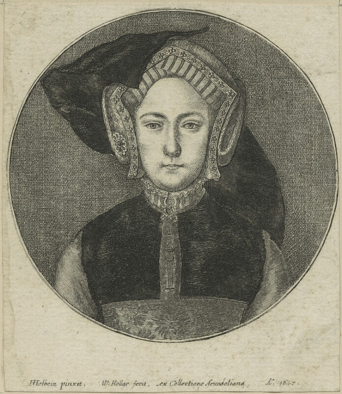 Queen Mary I when Princess Mary, by Wenceslaus Hollar, after  Hans Holbein the Younger, possibly 1647 - NPG D24193 - © National Portrait Gallery, London