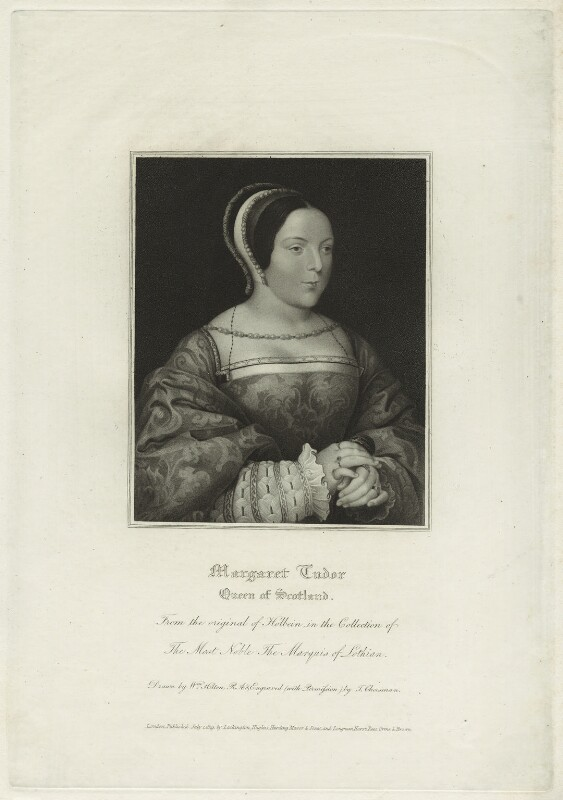 Margaret Tudor, by Thomas Cheesman, after  Hans Holbein the Younger, published 1819 - NPG D24196 - © National Portrait Gallery, London