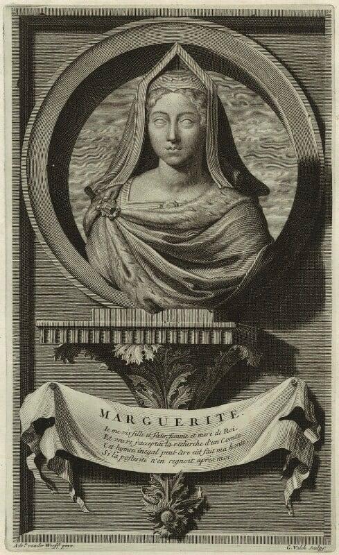 Margaret Tudor, by Gerard Valck, after  Adriaen van der Werff, late 17th century - NPG D24197 - © National Portrait Gallery, London