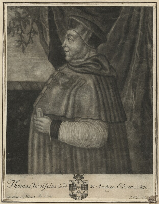 Thomas Wolsey, by John Faber Sr, after  Hans Holbein the Younger, probably early 18th century - NPG D24243 - © National Portrait Gallery, London