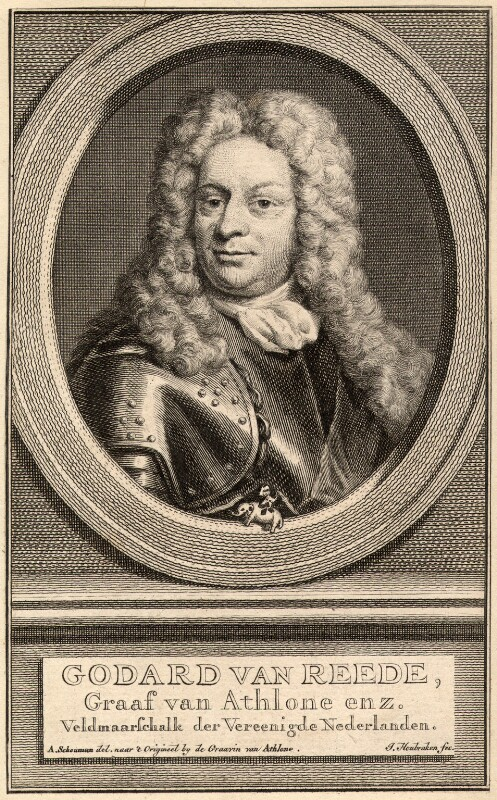 Godard van Reede-Ginckel, 1st Earl of Athlone, by Jacobus Houbraken, after  Ursula Philippota Reede-Ginckel (née van Raesfelt), Countess of Athlone, 1702 or after - NPG D9012 - © National Portrait Gallery, London
