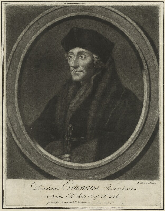 Desiderius Erasmus, by Richard Houston, probably mid to late 18th century - NPG D24293 - © National Portrait Gallery, London