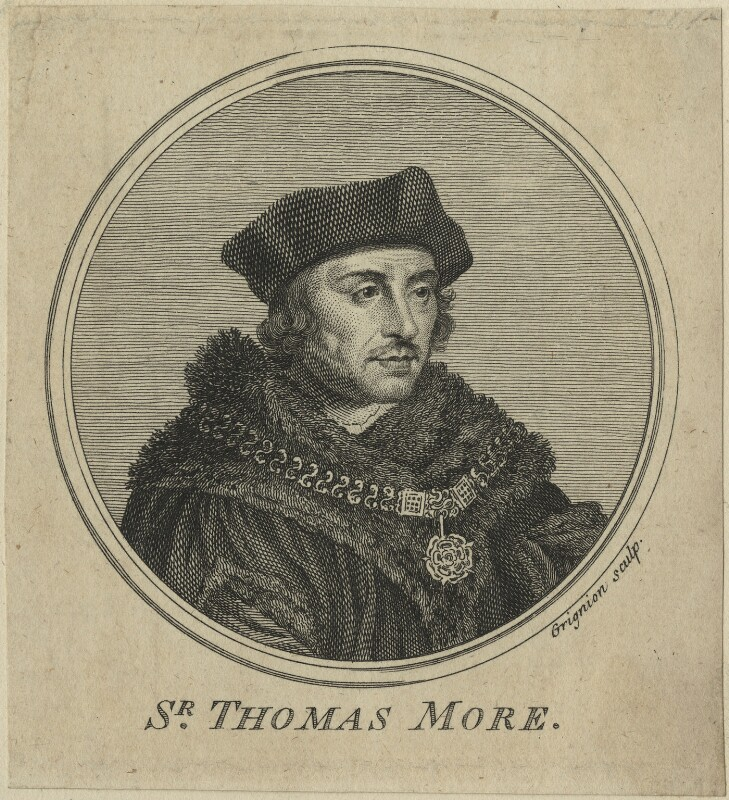 Sir Thomas More, by Charles Grignion, after  Hans Holbein the Younger, 1757 - NPG D24311 - © National Portrait Gallery, London