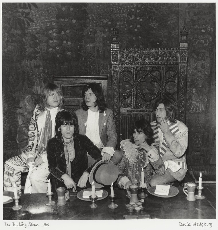 The Rolling Stones (Brian Jones; Keith Richards; Mick Jagger; Bill Wyman; Charlie Watts), by David Wedgbury, 5 December 1968 - NPG x47358 - © National Portrait Gallery, London