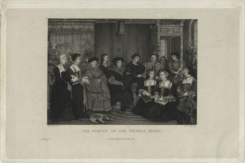 The Family of Sir Thomas More, by Thomas Anthony Dean, published by  William Pickering, after  Hans Holbein the Younger, published 1829 - NPG D24316 - © National Portrait Gallery, London