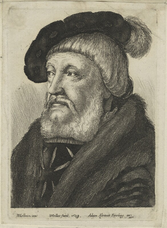 Probably Sir William Butts, by Wenceslaus Hollar, published by  Adam Alexius Bierling, after  Hans Holbein the Younger, 1649 - NPG D24334 - © National Portrait Gallery, London