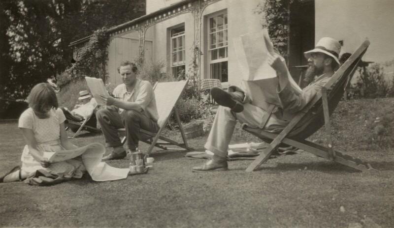 Dora Carrington; Saxon Arnold Sydney-Turner; Ralph Partridge; Lytton Strachey, by Frances Catherine Partridge (née Marshall), 1926-1927 - NPG x13137 - © National Portrait Gallery, London