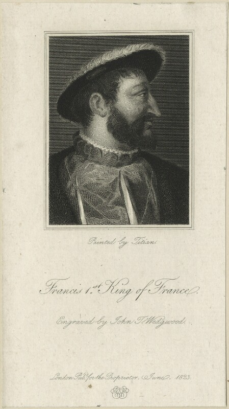François I (Francis I), King of France, by John Taylor ('J.T.') Wedgwood, after  Titian, published 1823 - NPG D24776 - © National Portrait Gallery, London