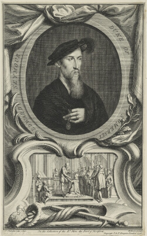 Edward Seymour, 1st Duke of Somerset, by Jacobus Houbraken, published by  John & Paul Knapton, after  Hans Holbein the Younger, published 1738 - NPG D24807 - © National Portrait Gallery, London
