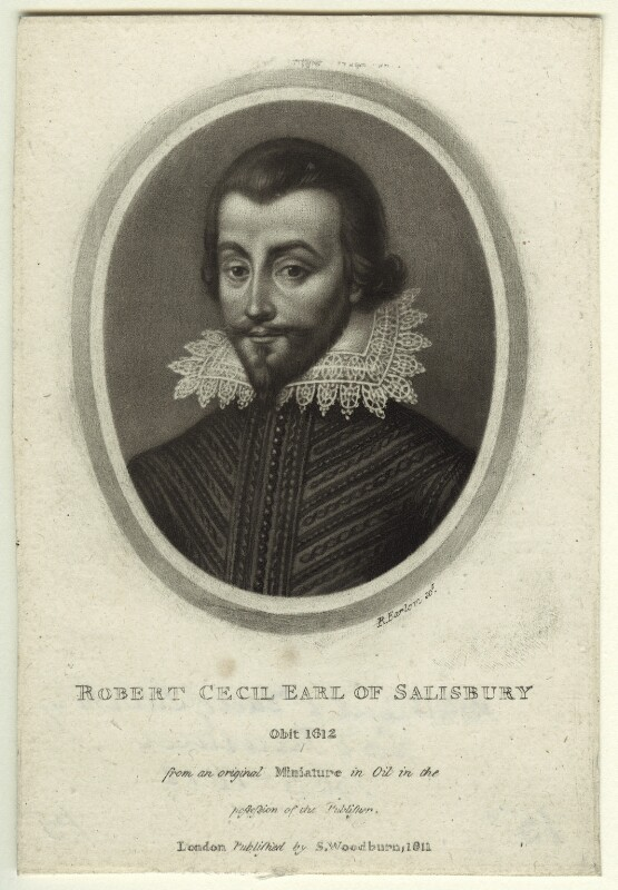 Unknown man engraved as Robert Cecil, 1st Earl of Salisbury, by Richard Earlom, published by  Samuel Woodburn, published 1811 - NPG D31752 - © National Portrait Gallery, London