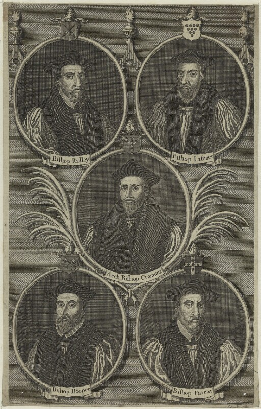 5 Bishops including Nicholas Ridley, Hugh Latimer, Thomas Cranmer, John Hooper and Robert Farrar, possibly by Thomas Bowles Sr, or by  Thomas Bowles Jr, possibly 18th century - NPG D24926 - © National Portrait Gallery, London