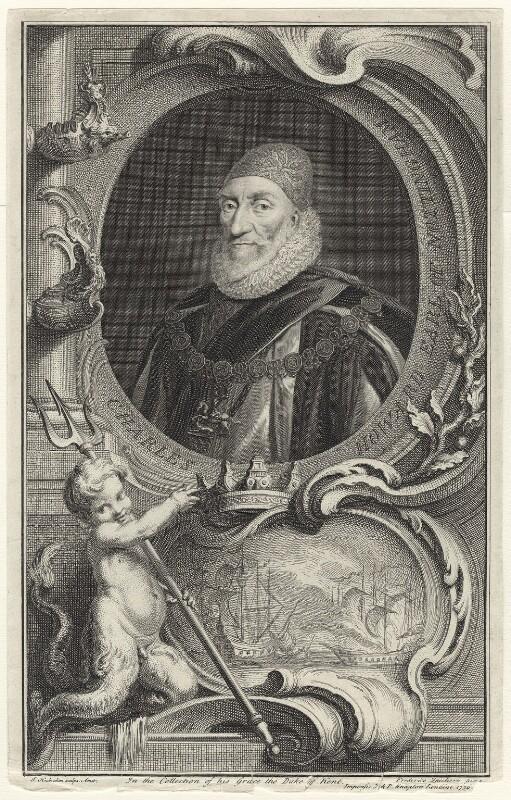 Charles Howard, 1st Earl of Nottingham, by Jacobus Houbraken, published by  John & Paul Knapton, after  Daniel Mytens, published 1739 - NPG D31717 - © National Portrait Gallery, London