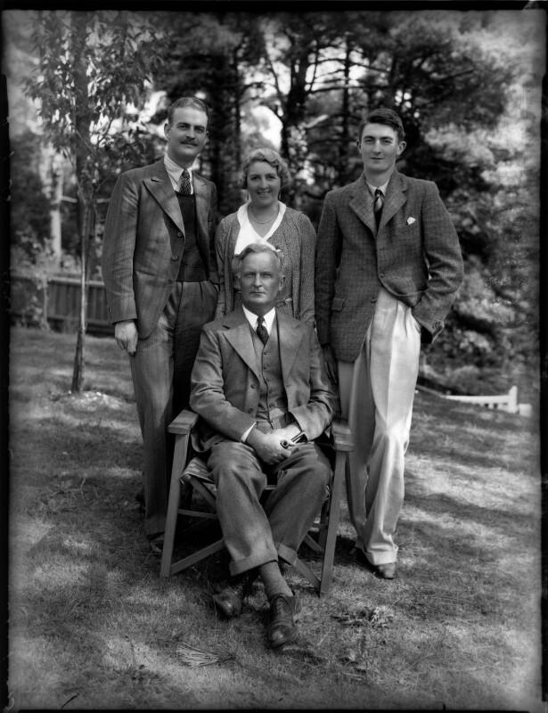Basil John Karslake; Sir Henry Karslake; Florence Clare (née Rooke), Lady Karslake; Charles Karslake, by Bassano Ltd, 2 September 1935 - NPG x151741 - © National Portrait Gallery, London