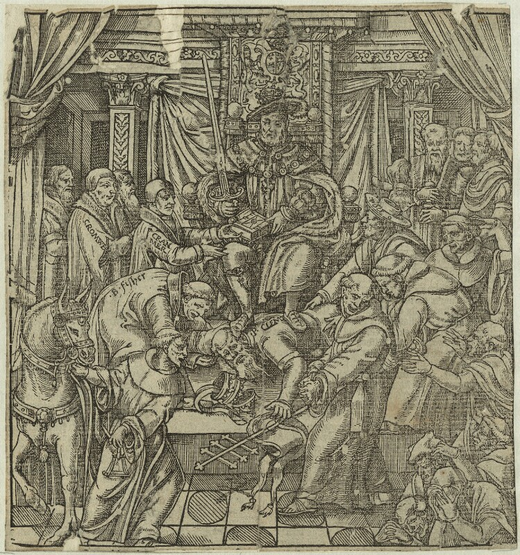 'The pope suppressed by King Henry VIII', after Unknown artist, 1570 - NPG D24931 - © National Portrait Gallery, London