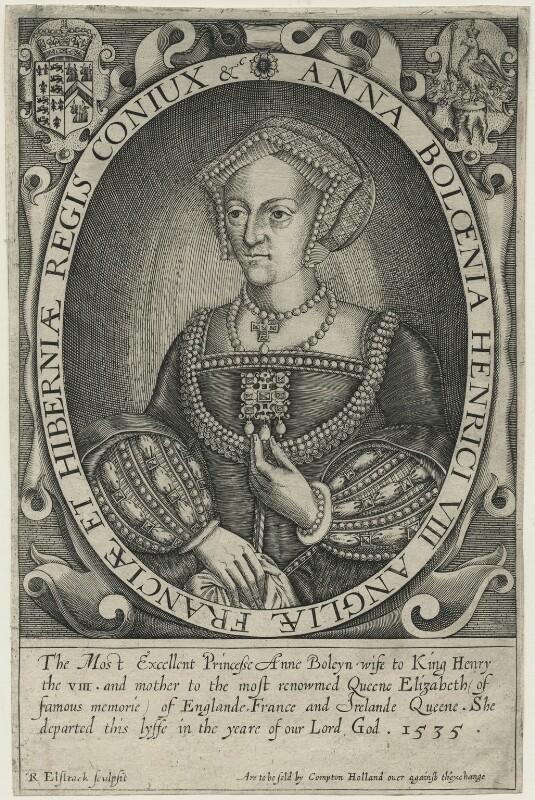 Anne Boleyn, by Renold or Reginold Elstrack (Elstracke), 1618 - NPG D24936 - © National Portrait Gallery, London