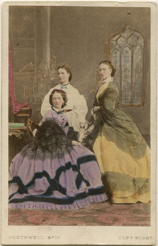 Louise, Queen of Denmark; Maria Feodorovna, Empress of Russia (Princess Dagmar); Queen Alexandra, by Southwell Brothers, October 1863 - NPG Ax46723 - © National Portrait Gallery, London