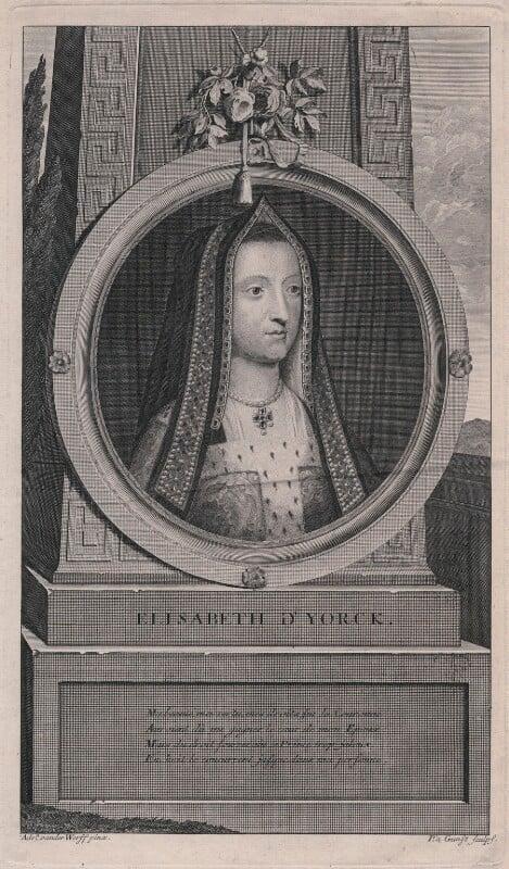 Elizabeth of York, by Pieter Stevens van Gunst, after  Adriaen van der Werff, 1697 - NPG D31776 - © National Portrait Gallery, London