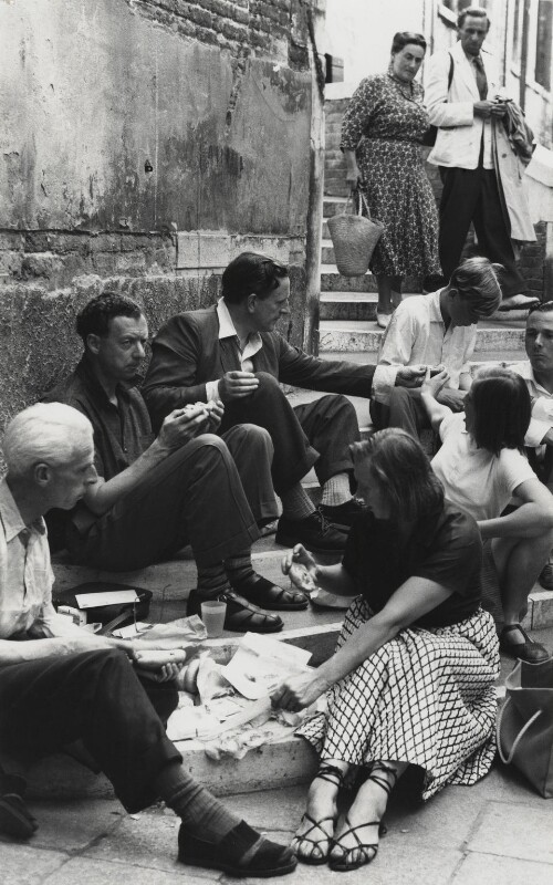 Benjamin Britten, Peter Pears, John Piper and others in Venice, by Erich Auerbach, 1 September 1954 - NPG x15232 - © estate of Erich Auerbach