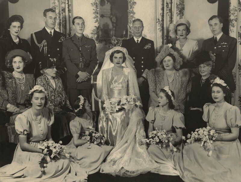 Wedding of John Ulick Knatchbull, 7th Baron Brabourne and Patricia Edwina Victoria Knatchbull, by Madame Yevonde, 26 October 1946 - NPG x34013 - © Yevonde Portrait Archive