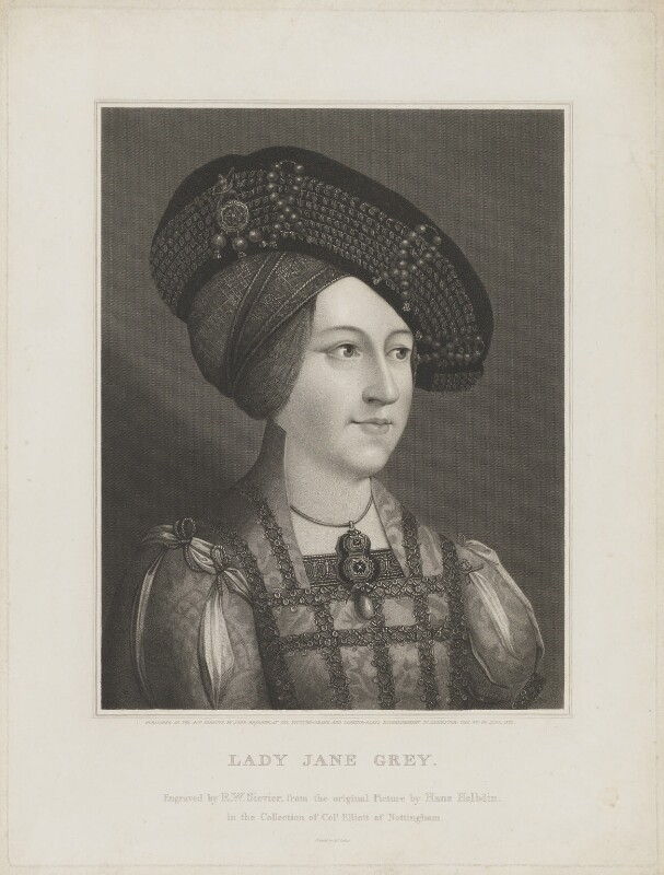 Anne, Queen of Hungary wrongly identified as Lady Jane Grey, by Robert William Sievier, and  John Brydone, after  Hans Maler, published 4 June 1822 - NPG D24992 - © National Portrait Gallery, London