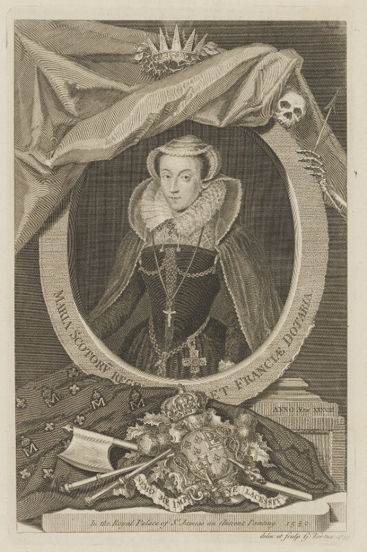 Mary, Queen of Scots, by George Vertue, after  Nicholas Hilliard, 1735 - NPG D31820 - © National Portrait Gallery, London