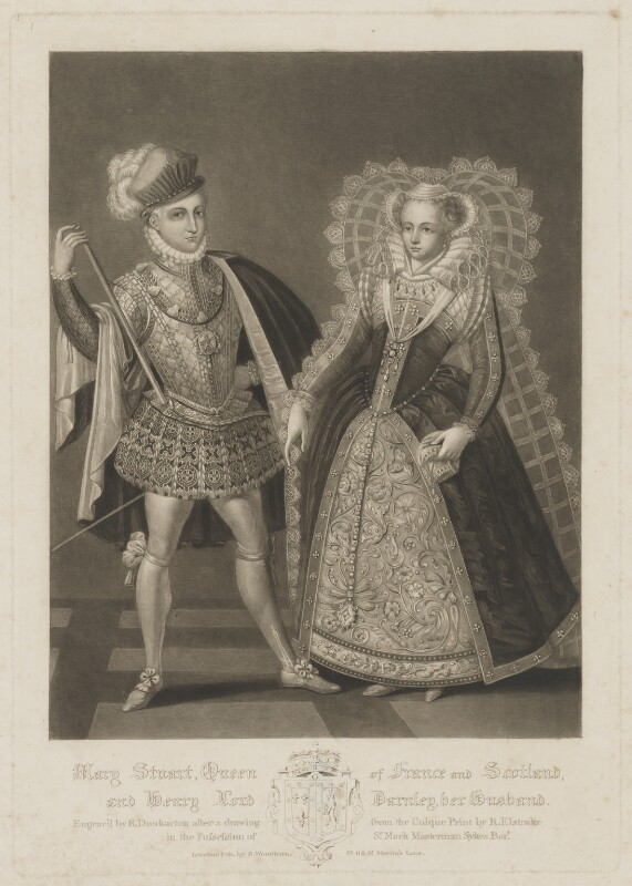 Henry Stuart, Lord Darnley; Mary, Queen of Scots, by Robert Dunkarton, published by  Samuel Woodburn, after  Renold or Reginold Elstrack (Elstracke), published 1816 - NPG D31822 - © National Portrait Gallery, London
