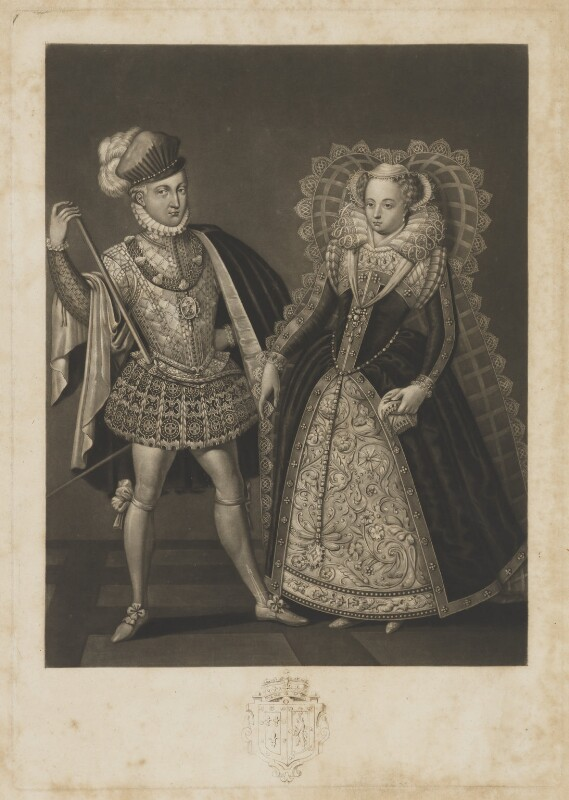 Henry Stuart, Lord Darnley; Mary, Queen of Scots, by Robert Dunkarton, published by  Samuel Woodburn, after  Renold or Reginold Elstrack (Elstracke), published 1816 - NPG D31823 - © National Portrait Gallery, London