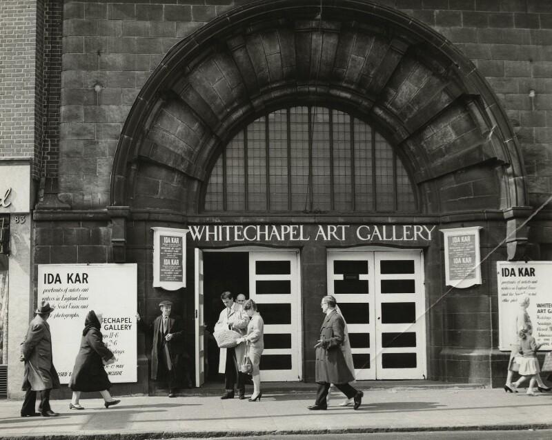 Facade of the Whitechapel Art Gallery, by Ida Kar, 1960, NPG X129574 © National Portrait Gallery, London
