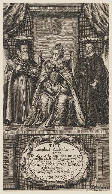 Queen Elizabeth I; Sir Francis Walsingham; William Cecil, 1st Baron Burghley, by William Faithorne, 1655 - NPG D31830 - © National Portrait Gallery, London