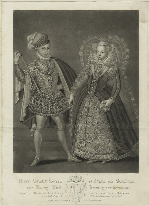 Henry Stuart, Lord Darnley; Mary, Queen of Scots, by Robert Dunkarton, published by  Samuel Woodburn, after  Renold or Reginold Elstrack (Elstracke), published 1816 - NPG D25050 - © National Portrait Gallery, London