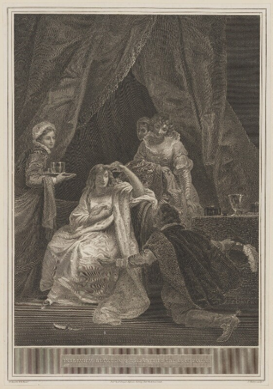 Interview between Queen Elizabeth & the Earl of Essex, by Thomas Milton, published by  Robert Bowyer, after  Robert Smirke, published 1806 - NPG D31838 - © National Portrait Gallery, London