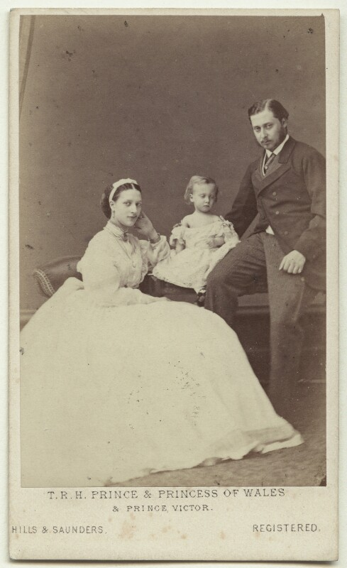 Queen Alexandra; Prince Albert Victor, Duke of Clarence and Avondale; King Edward VII, by Hills & Saunders, July 1865 - NPG x18897 - © National Portrait Gallery, London