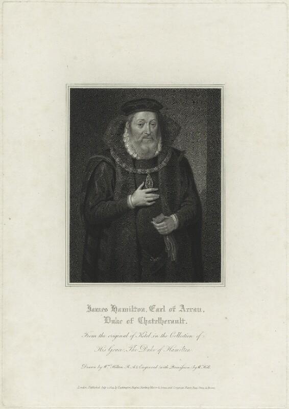 James Hamilton, 2nd Earl of Arran, by William Holl Sr, after  Cornelis Ketel, published 1819 - NPG D25177 - © National Portrait Gallery, London