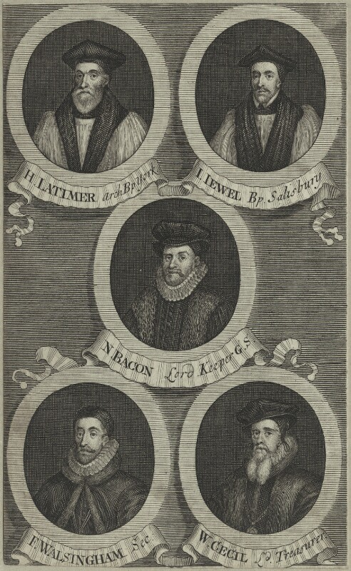 Hugh Latimer, John Jewl, Sir Nicholas Bacon, Sir Francis Walsingham, William Cecil, after Unknown artist, possibly mid 18th century - NPG D25216 - © National Portrait Gallery, London
