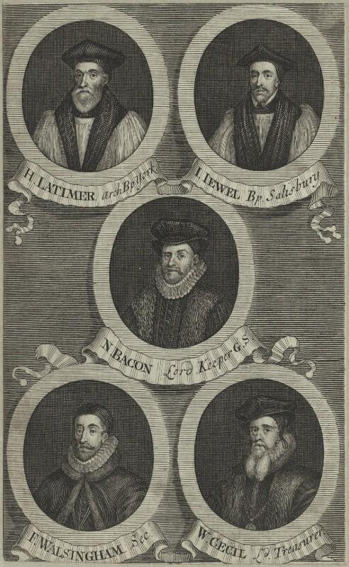 Hugh Latimer, John Jewl, Sir Nicholas Bacon, Sir Francis Walsingham, William Cecil, after Unknown artist, possibly mid 18th century - NPG D25216 - © National Portrait Gallery, London